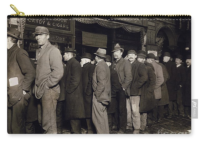 1907 Carry-all Pouch featuring the photograph New York: Bread Line, 1907 by Granger