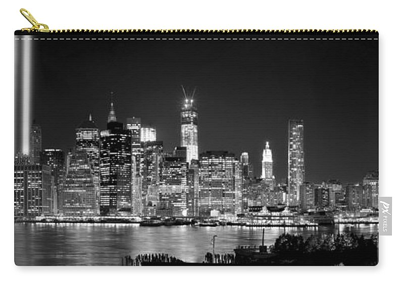 New York City Skyline At Night Carry-all Pouch featuring the photograph New York City Bw Tribute In Lights And Lower Manhattan At Night Black And White Nyc by Jon Holiday