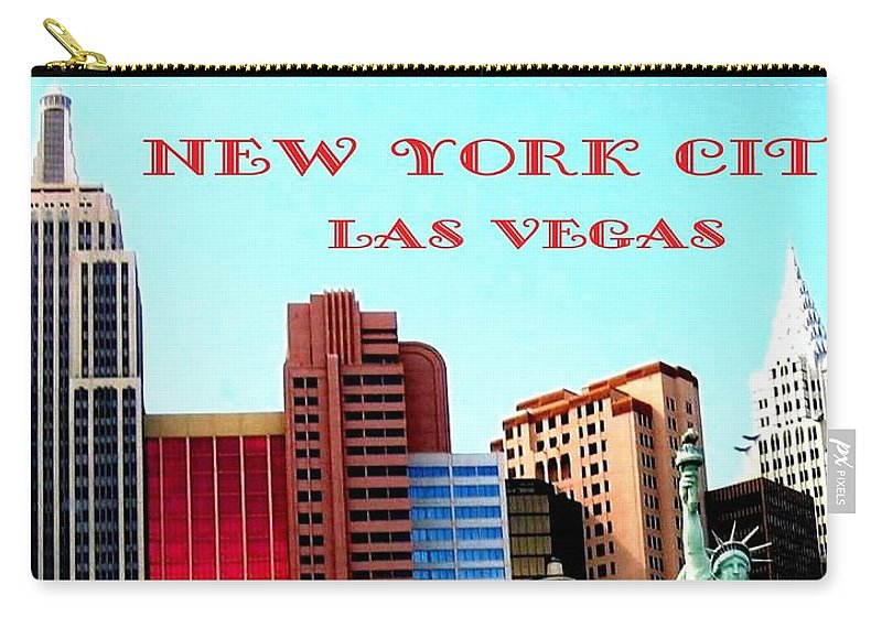 Poster Carry-all Pouch featuring the digital art New York City- Las Vegas by Will Borden