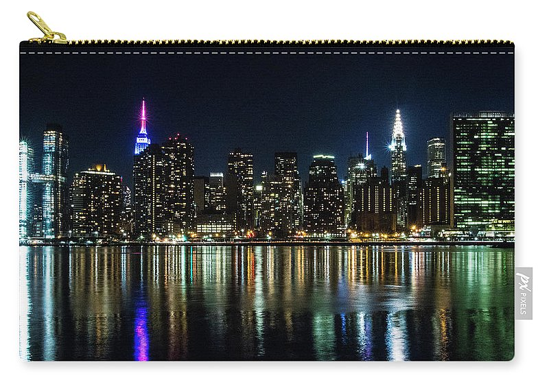 New York City Skyline Nighttime View From Queens Carry All Pouch For Sale By Steven Hlavac