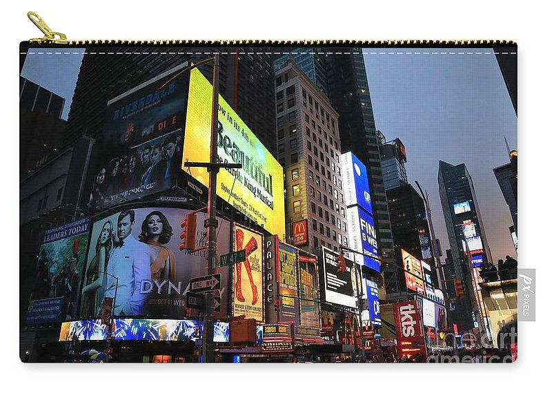 Destination Carry-all Pouch featuring the photograph New York City Times Square by Douglas Sacha
