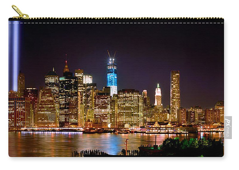 New York City Skyline At Night Carry-all Pouch featuring the photograph New York City Tribute In Lights And Lower Manhattan At Night Nyc by Jon Holiday