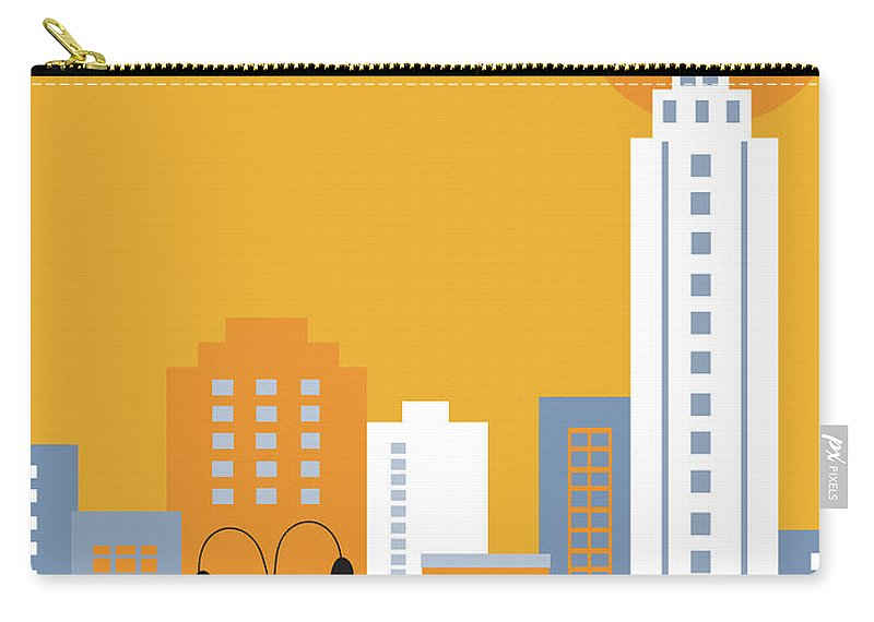 New York City Carry-all Pouch featuring the digital art New York City Vertical Skyline - Empire State At Dawn by Karen Young