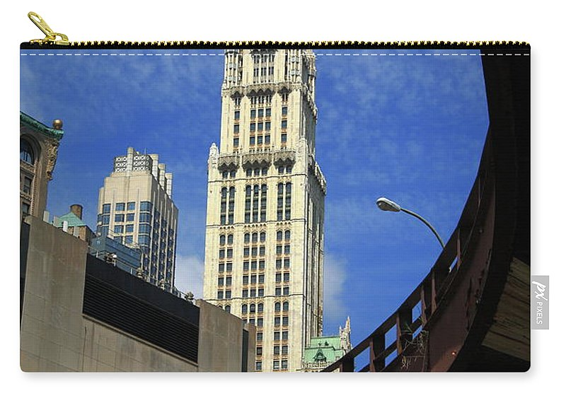 Poster Carry-all Pouch featuring the photograph New York City - Woolworth Building by Frank Romeo