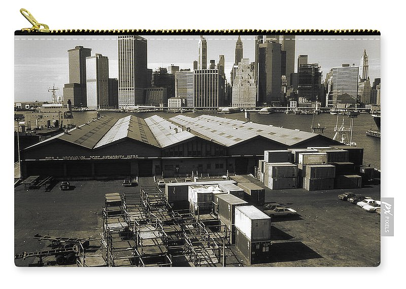 New+york Carry-all Pouch featuring the photograph Old New York Harbor Skyline by Peter Potter