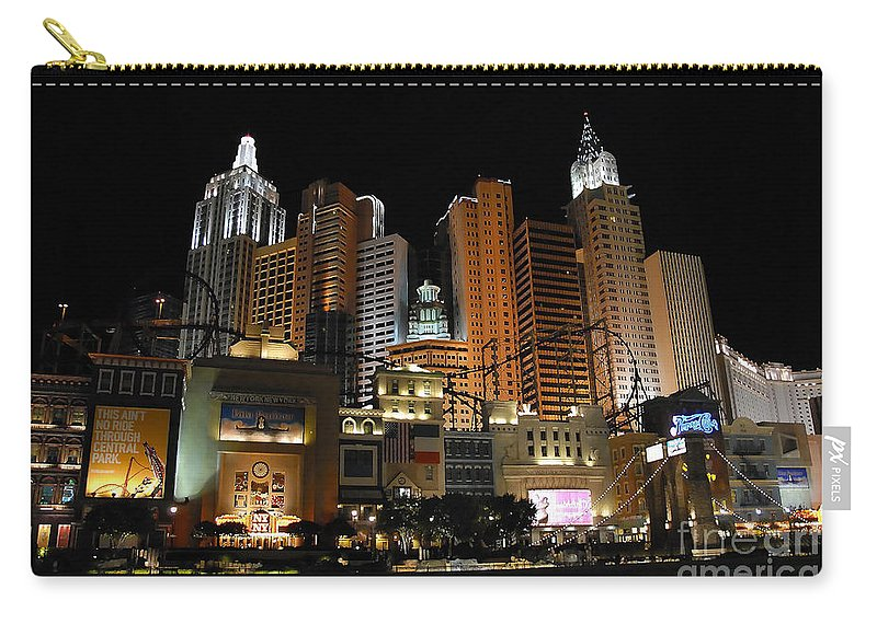 New York Carry-all Pouch featuring the photograph New York Las Vegas by David Lee Thompson