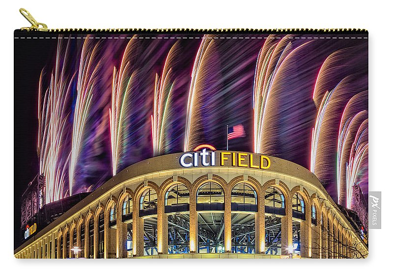 Citi Field Carry-all Pouch featuring the photograph New York Mets Citi Field Fireworks by Susan Candelario
