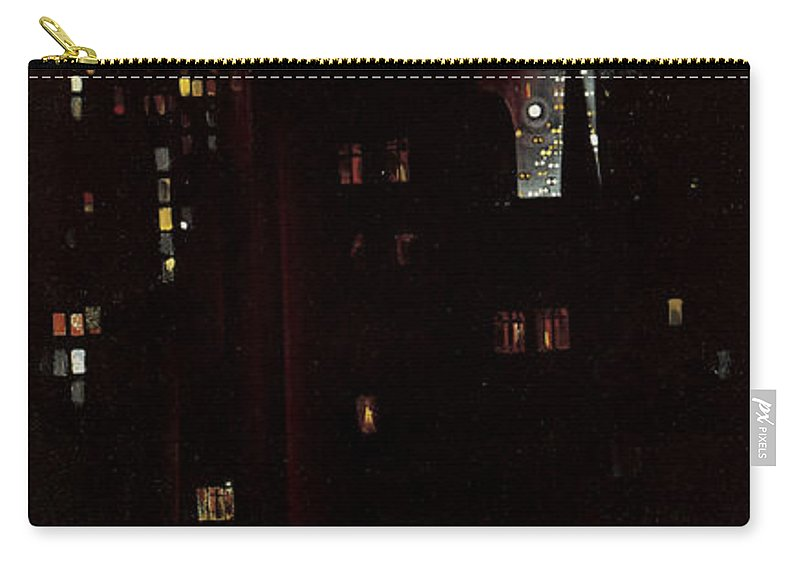 Georgia O'keeffe Carry-all Pouch featuring the photograph New York, Night, by Georgia O'keeffe
