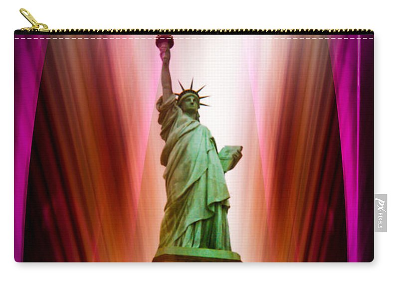 New York Carry-all Pouch featuring the painting New York Nyc - Statue Of Liberty 2 by Walter Zettl