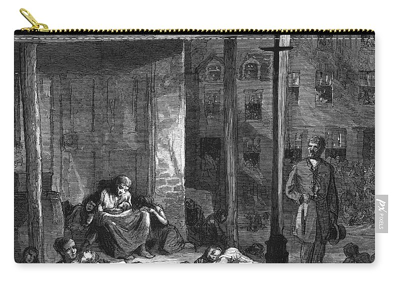 1879 Carry-all Pouch featuring the photograph New York Poor In Summer by Granger