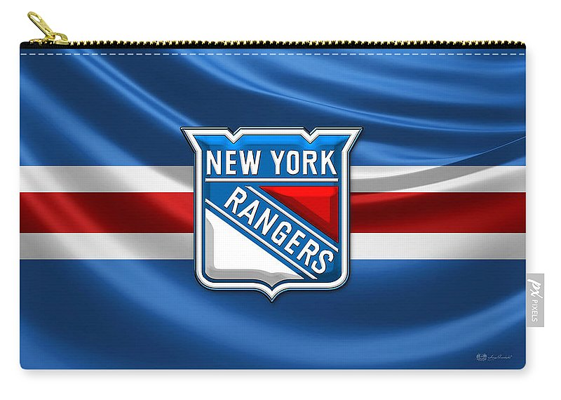 �hockey Hall Of Fame 3d� By Serge Averbukh Carry-all Pouch featuring the photograph New York Rangers - 3D Badge Over Flag by Serge Averbukh