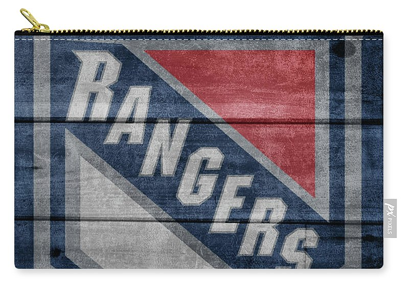New York Rangers Barn Door Carry-all Pouch featuring the mixed media New York Rangers Barn Door by Dan Sproul