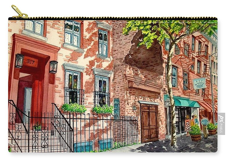Street Scene Carry-all Pouch featuring the painting New York by Sonya Catania