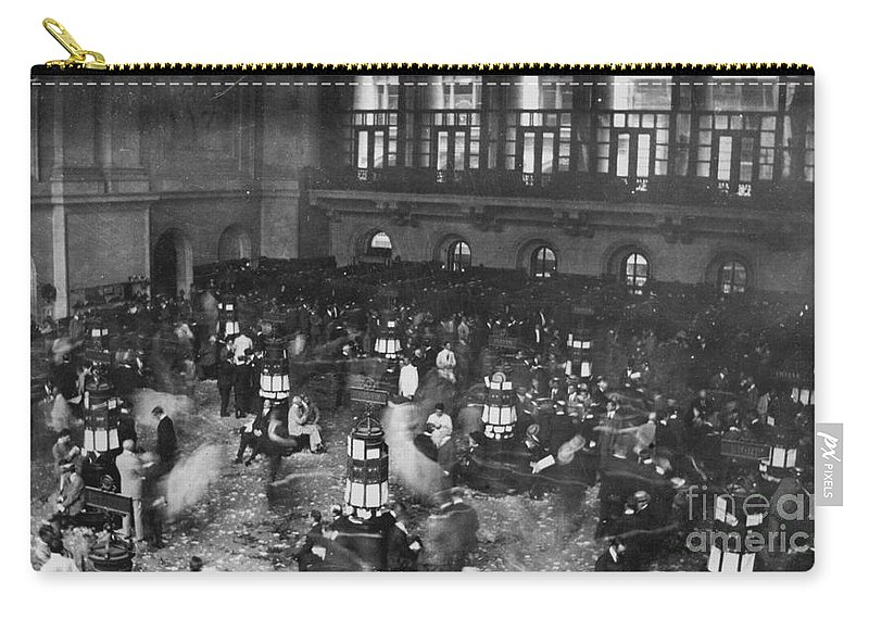 1907 Carry-all Pouch featuring the photograph New York Stock Exchange by Granger