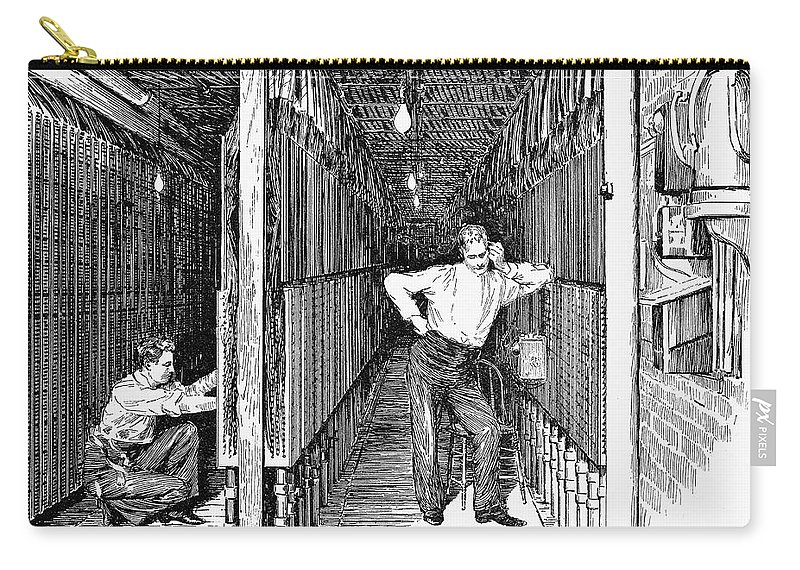 1891 Carry-all Pouch featuring the photograph New York: Telephone, 1891 by Granger