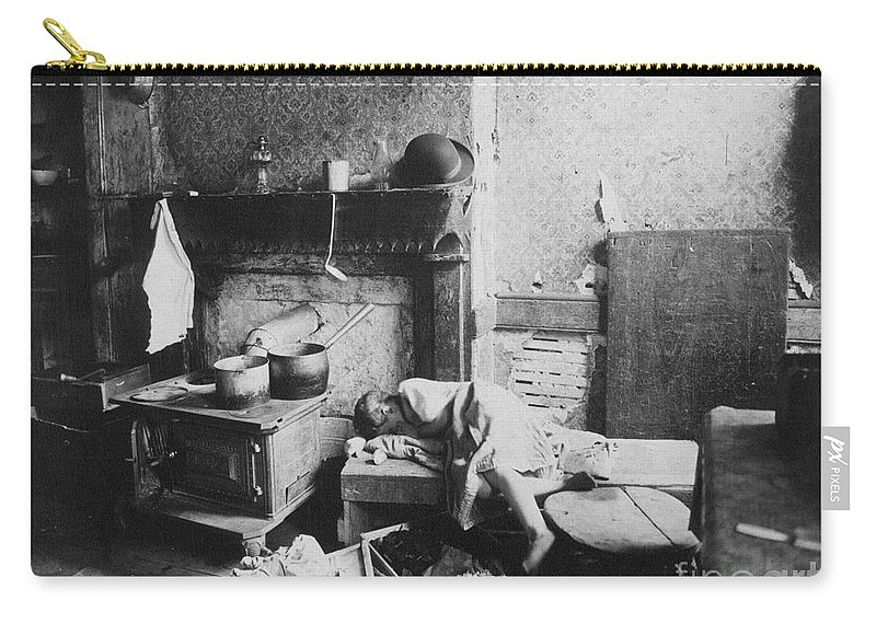 1896 Carry-all Pouch featuring the photograph New York: Tenement Life by Granger