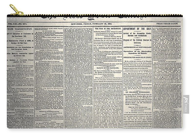 1864 Carry-all Pouch featuring the photograph New York Times, 1864 by Granger