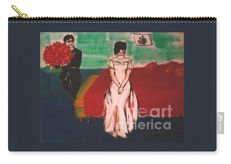 Chinese Carry-all Pouch featuring the painting Newly Weds by Meihua Lu