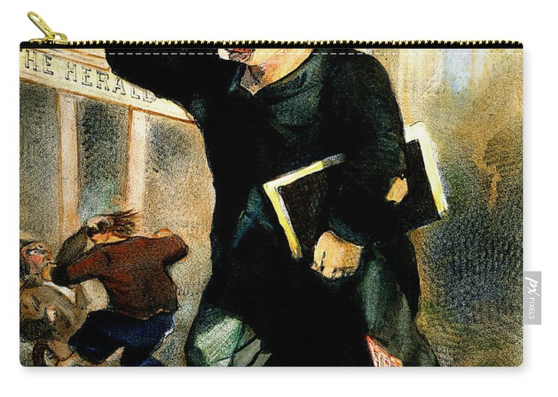 1847 Carry-all Pouch featuring the photograph Newsboy Shouting, 1847 by Granger