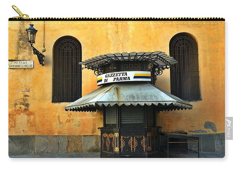 Architecture Carry-all Pouch featuring the photograph Newsstand - Parma - Italy by Silvia Ganora