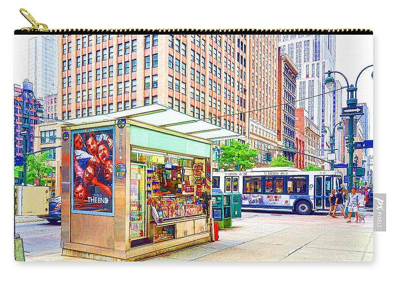 Newsstand Carry-all Pouch featuring the painting Newsstand 1 by Jeelan Clark