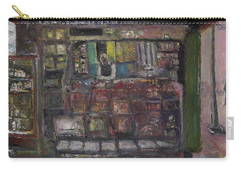 Newsstand Carry-all Pouch featuring the painting Newsstand by Craig Newland