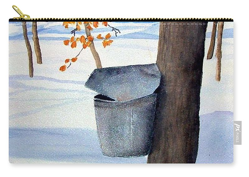 Sap Bucket. Maple Sugaring Carry-all Pouch featuring the painting Nh Goldmine by Sharon E Allen