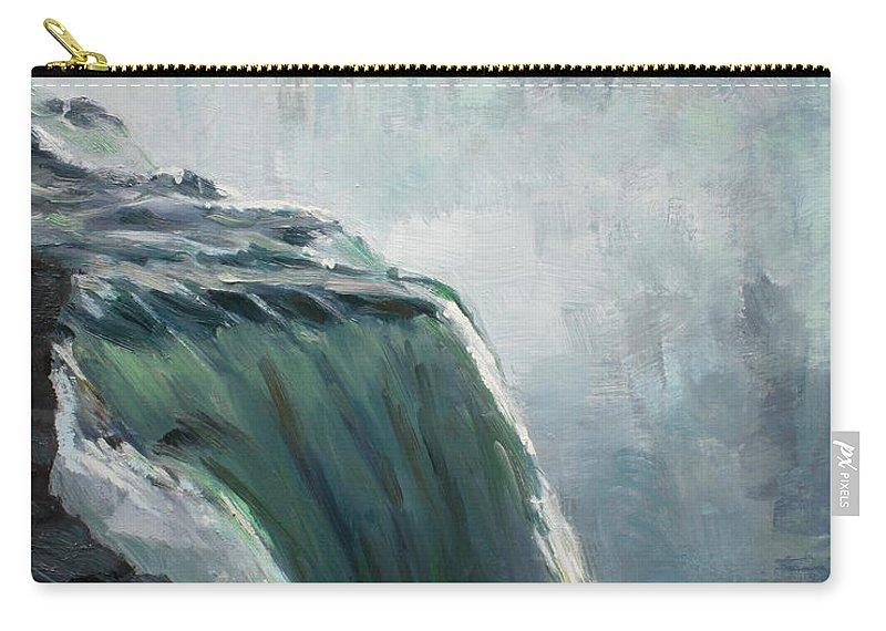 Niagara Falls Ny Carry-all Pouch featuring the painting Niagara Falls Ny by Ylli Haruni