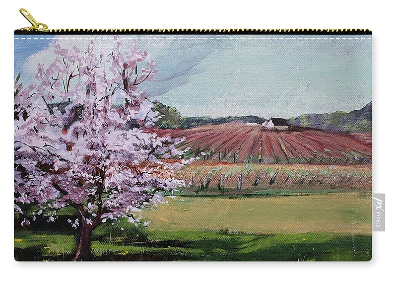 Niagara Vineyards Carry-all Pouch featuring the painting Niagara Vineyards Spring by Bruce Repei