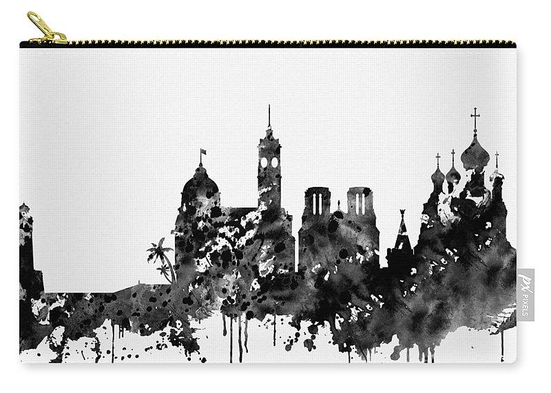 Nice Skyline Carry-all Pouch featuring the digital art Nice Skyline-black by Erzebet S