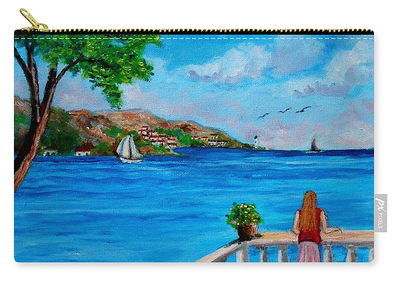 Balkonies Carry-all Pouch featuring the painting Nice View by Konstantinos Charalampopoulos