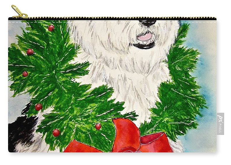 Old English Sheepdog Carry-all Pouch featuring the painting Nicholas Christmas 2013 by Carol Blackhurst