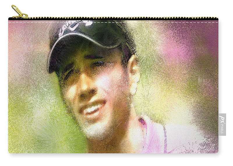 Golf Carry-all Pouch featuring the painting Nick Dougherty In The Golf Trophee Hassan II In Morocco by Miki De Goodaboom