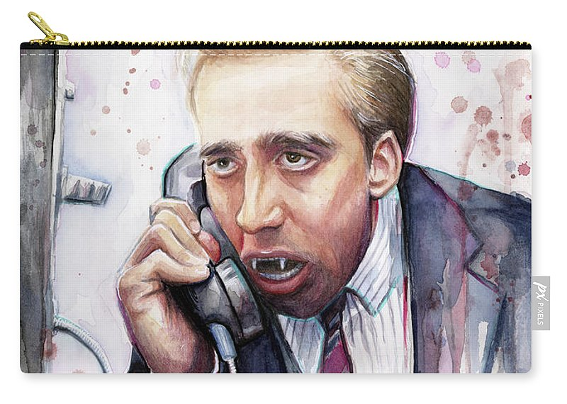 Nicolas Cage Carry-all Pouch featuring the painting Nicolas Cage A Vampire's Kiss Watercolor Art by Olga Shvartsur