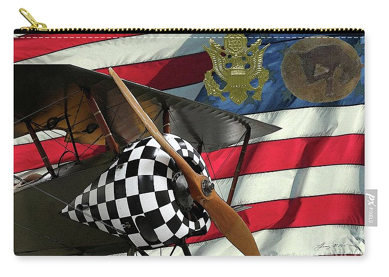 Nieuport 28c Carry-all Pouch featuring the digital art Nieuport 28c Bucking Mule by Tommy Anderson