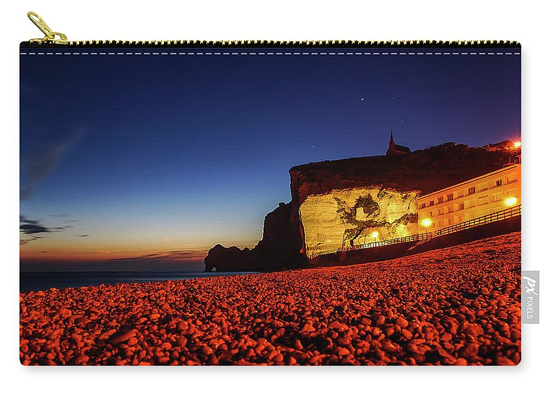 Blue Hour Carry-all Pouch featuring the photograph Night At Etretat Beach by Jane Svensson