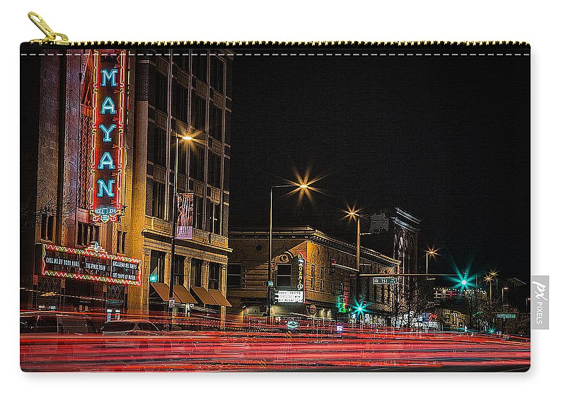 Mayan Theater Carry-all Pouch featuring the photograph Night At The Mayan by Kristal Kraft