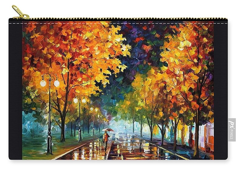 Afremov Carry-all Pouch featuring the painting Night Autumn Park by Leonid Afremov