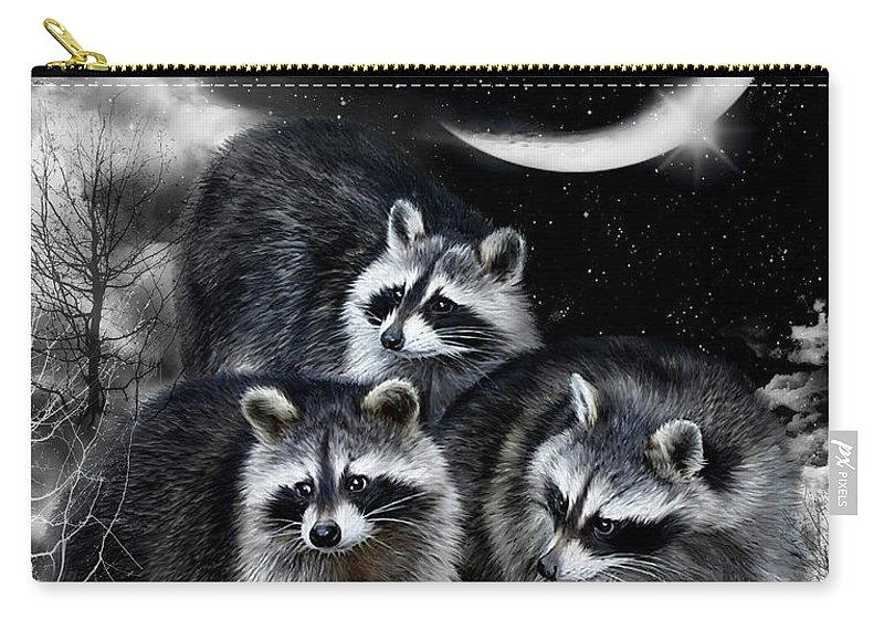 Raccoon Carry-all Pouch featuring the mixed media Night Bandits by Carol Cavalaris