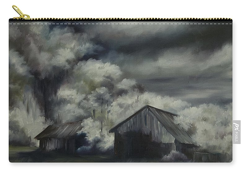 Motel; Route 66; Desert; Abandoned; Delapidated; Lost; Highway; Route 66; Road; Vacancy; Run-down; Building; Old Signage; Nastalgia; Vintage; James Christopher Hill; Jameshillgallery.com; Foliage; Sky; Realism; Oils; Barn Carry-all Pouch featuring the painting Night Barn by James Christopher Hill