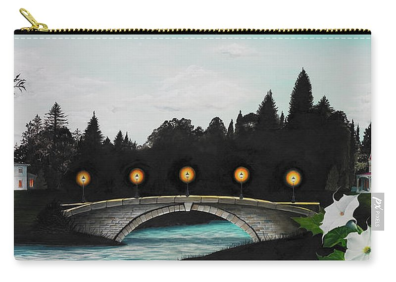 Architecture Carry-all Pouch featuring the painting Night Bridge by Melissa A Benson