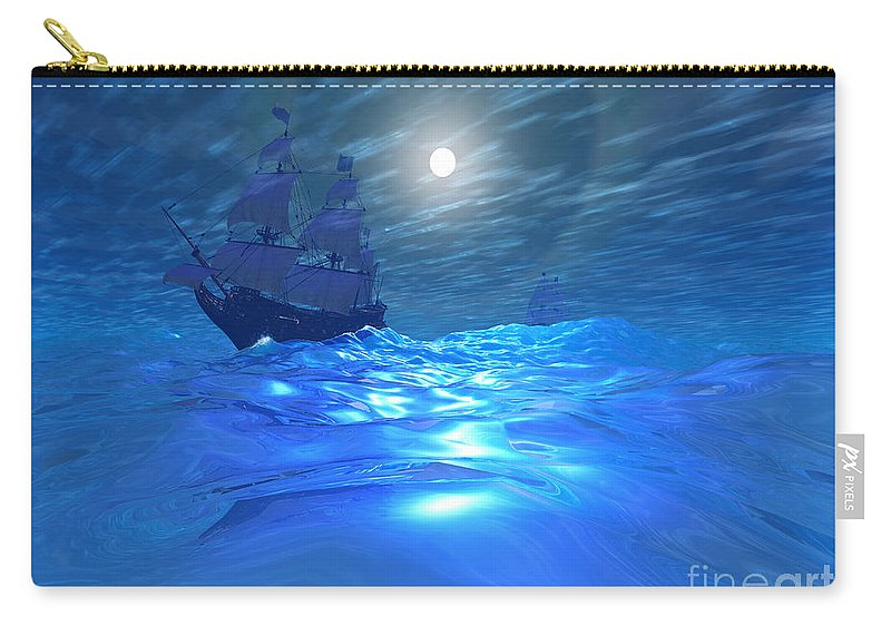 Galleon Carry-all Pouch featuring the painting Night Crossing by Corey Ford