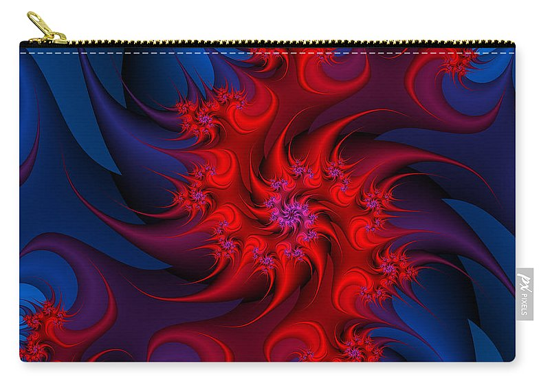Fractal Carry-all Pouch featuring the digital art Night Fire by Jutta Maria Pusl