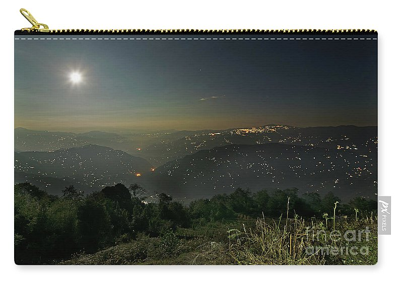 Night Carry-all Pouch featuring the photograph Night Image Of Darjeeling by Rudra Narayan Mitra