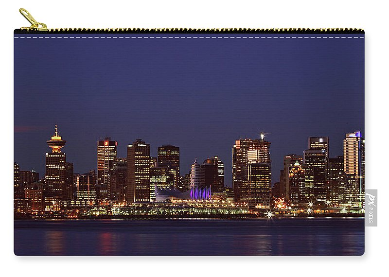 Night Carry-all Pouch featuring the digital art Night Lights Of Downtown Vancouver by Mark Duffy