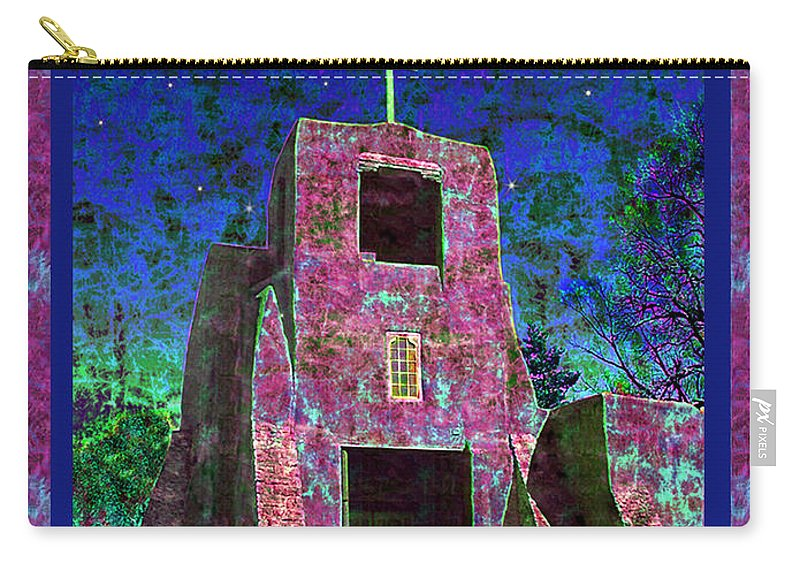 Mission Carry-all Pouch featuring the photograph Night Magic San Miguel Mission by Kurt Van Wagner
