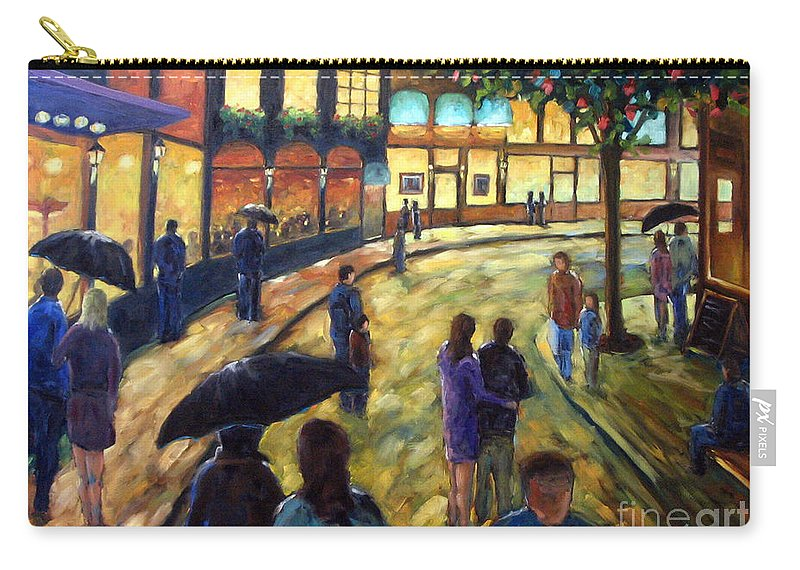 Cityscape Carry-all Pouch featuring the painting Night On The Town by Richard T Pranke
