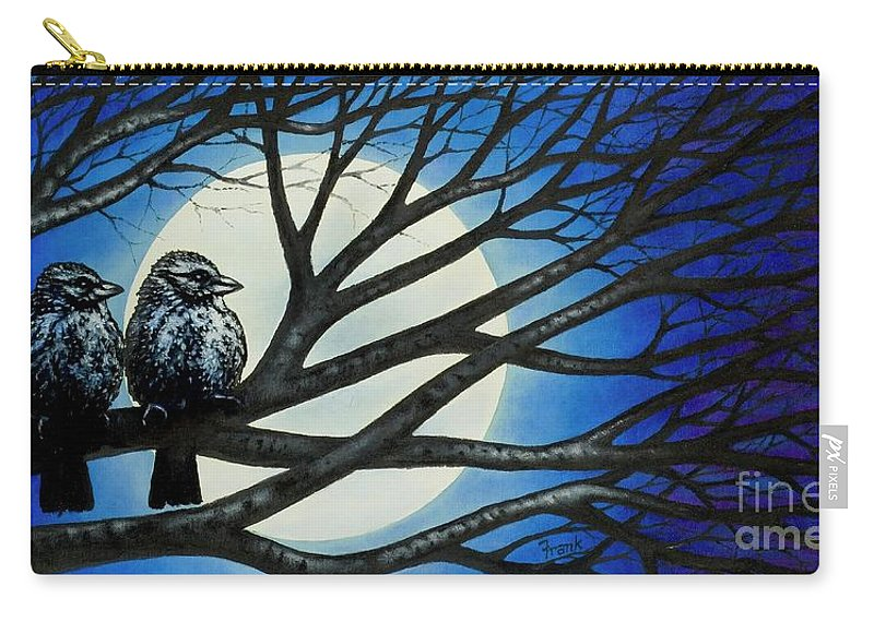 Full Moon Carry-all Pouch featuring the painting Night Perch by Michael Frank