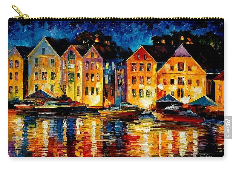 City Carry-all Pouch featuring the painting Night Resting Original Oil Painting by Leonid Afremov