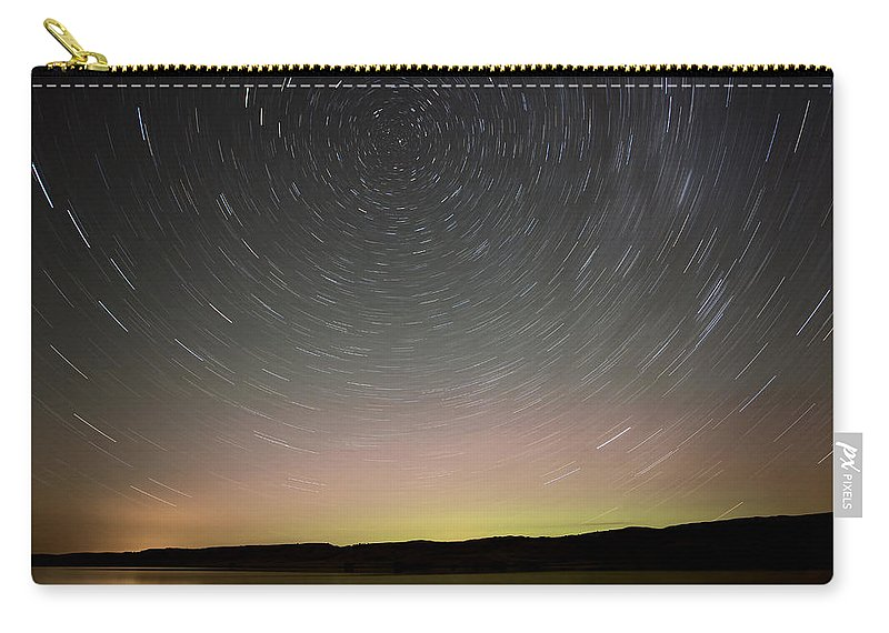 Night Carry-all Pouch featuring the photograph Night Shot Star Trails Lake by Mark Duffy